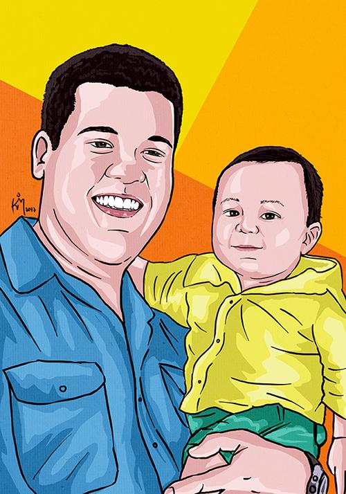 desenho pai filho 21x30cm